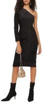 Topshop Women's Glitter Stripe One-Shoulder Dress