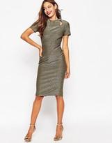 Asos Bonded Metallic Cut Out Pencil Midi Dress