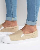 Asos Slip On Sneakers in Stone Warm Felt With Toe Cap