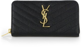 Saint Laurent Monogram Matelasse Leather Zip-Around Wallet