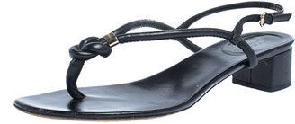 Gucci Black Leather Block Heel Ankle Strap Thong Sandals Size 41