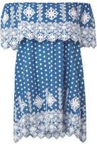 Miguelina Agnes Off-the-shoulder Crochet-trimmed Cotton-voile Mini Dress - Cobalt blue