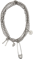 Alexander McQueen Silver Pin and Skull Necklace