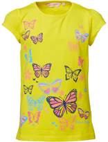 Board Angels Girls Butterfly Print T-Shirt Yellow