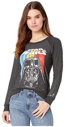 Chaser Star Wars Retro Darth Cozy Knit Pullover (Black) Women's Clothing