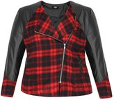 uxcell Agnes Orinda Women Plus Size Plaids Worsted Panel PU Moto Jacket