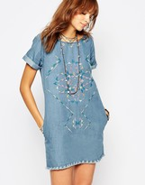 Pepe Jeans Embroidered Denim Dress With Raw Edge Detail