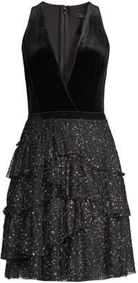 BCBGMAXAZRIA Velvet & Metallic Cocktail Dress