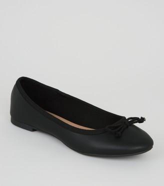 New Look Girls Leather-Look Ballet Pumps