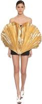 ATTICO The GOLD LAME PLEATED COTTON MINI DRESS