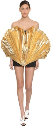 ATTICO The Gold Lame Pleated Cotton Mini Dress
