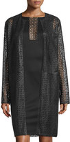 Carolina Herrera Collarless Laser-Cut Leather Coat, Black