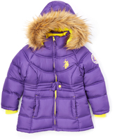 U.S. Polo Assn. Royal Purple Hooded Puffer Coat - Girls