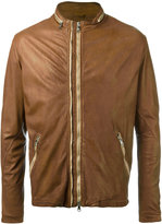 Giorgio Brato round neck zipped biker jacket - men - Leather/Nylon/Polyester - 48