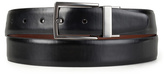 Kenneth Cole Reaction Black & Brown Feathered-Edge Round-Tip Reversible Leather Belt