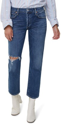 Citizens of Humanity Emerson Ripped Ankle Slim Fit Boyfriend Jeans