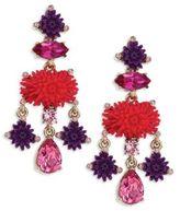 Oscar de la Renta Dahlia Resin & Crystal Clip-On Chandelier Earrings
