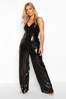 boohoo Plus Sequin Strappy Wide Leg Jumpsuit