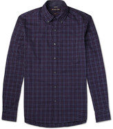 Michael Kors - Slim-fit Button-down Collar Checked Brushed-cotton Shirt
