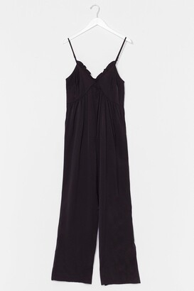 Nasty Gal Womens Owe You Big Time Wide-Leg Jumpsuit - Black - 6, Black
