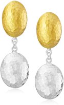 "Gurhan Jordan"" Gold and Sterling Oval Drop Earrings"