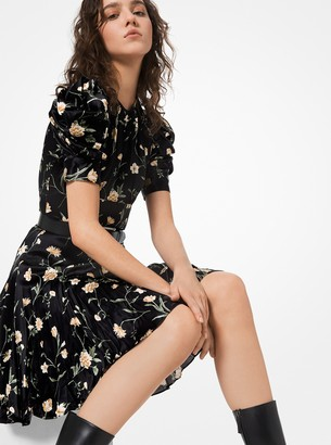 Michael Kors Floral Crushed Silk Charmeuse Puff-Sleeve Dress