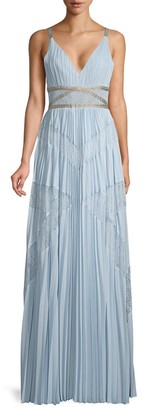 BCBGMAXAZRIA Lace Pleated Georgette A-Line Dress