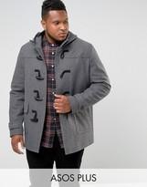 Asos Plus Wool Mix Duffle Coat In Light Grey