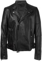 Diesel Black Gold stud detail zip up jacket - men - Leather/Polyester/Viscose - 46