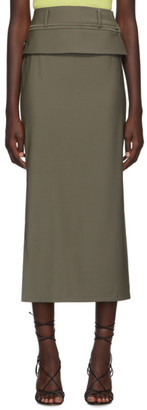 CHRISTOPHER ESBER Taupe Double Belted Contoured Skirt