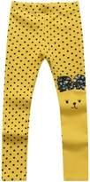 Richie House Girls' Cream Asymmetric Happy Bunny Pants RH0155-D
