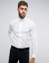 Noose & Monkey Skinny Shirt With Silver Spot And Collar Bar