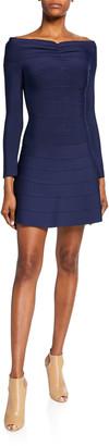 Herve Leger Off-the-Shoulder A-Line Shirred Dress