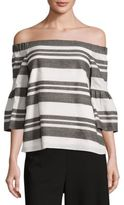Tibi Organza Off-the-Shoulder Striped Top
