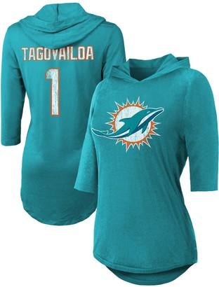 Majestic Women's Threads Tua Tagovailoa Aqua Miami Dolphins Hi-Lo Name & Number 3/4 Sleeve Pullover Hoodie