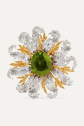 Buccellati 18-karat Yellow And White Gold, Diamond And Peridot Brooch - 6