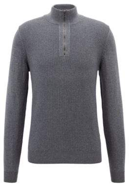 a2cfd1410 BOSS Hugo Zipper-neck sweater in Italian merino wool L Grey