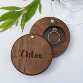 Wood Paper Scissors Personalised Walnut Round Engraved Ring Box