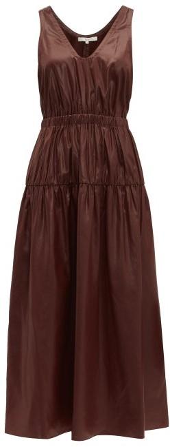 Tibi Liquid Drape Gathered Waist Dress - Womens - Burgundy
