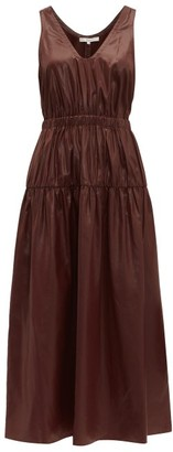 Tibi Liquid Drape Gathered-waist Dress - Womens - Burgundy