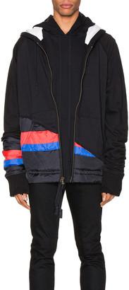 Greg Lauren 50/50 Puffy Striped Zip Hoodie in Black | FWRD