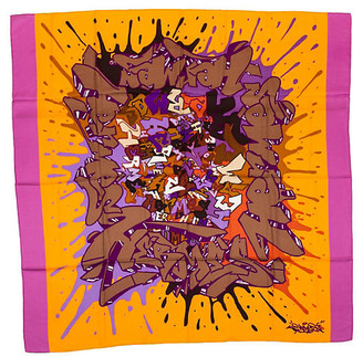 "One Kings Lane Vintage Hermes Cashmere 54"" Graffiti Scarf Shawl - Vintage Lux - orange/purple"