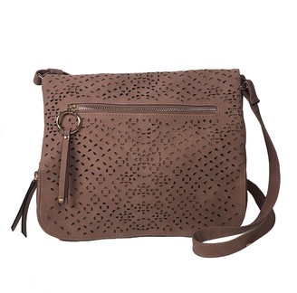 Violet Ray Kimmie Faux Leather Lasercut Messenger Bag