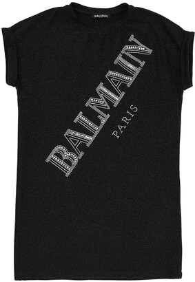 Balmain Embellished Logo Viscose Blend Dress