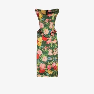 Richard Quinn Floral Print Peplum Midi Dress
