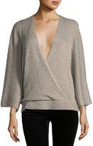 Ella Moss Leah Long-Sleeve Surplice Wool-Blend Top