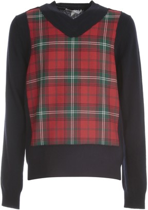 Comme des Garçons Shirt Fully Fashioned Knit Cardigan V Neck W/wool Tartan Check Front