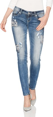 Grace in LA Women's Boho Embroidered Skinny Jeans