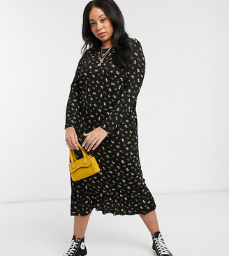 Daisy Street Plus midaxi smock dress in ditsy floral-Black