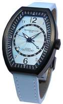 Montres de Luxe Women's EXL 9201 Estremo Lady Black PVD Light Blue Sunray Dial Leather Luminous Date Watch